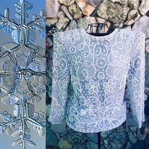 Lavender White Silk Snowflake Floral Beaded Top